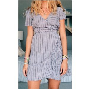 Blue Wrap Dress - Francesca's